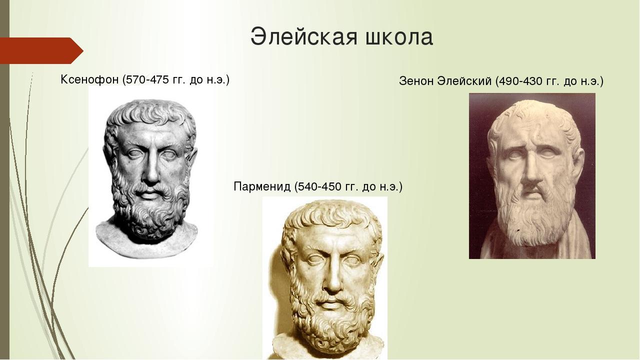 Элейская школа Парменид (540-450 гг. до н.э.) Ксенофон (570-475 гг. до н.э.)...