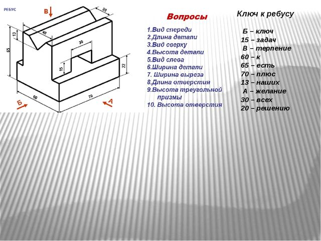 Ключ к ребусу Б – ключ 15 – задач В – терпение 60 – к 65 – есть 70 – плюс 13...