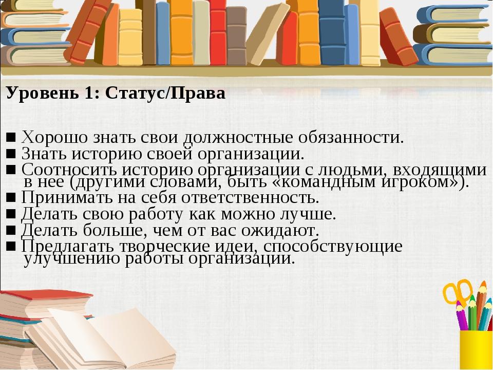 Уровень 1: Статус/Права ■ Хорошо знать свои должностные обязанности. ■ Знать...