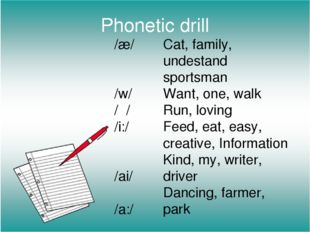 Phonetic drill /æ/ /w/ /ʌ/ /i:/ /ai/ /a:/ Cat, family, undestand sportsman Wa
