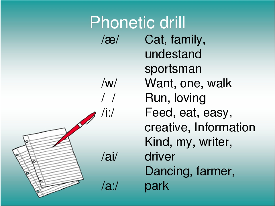 Phonetic drill /æ/ /w/ /ʌ/ /i:/ /ai/ /a:/ Cat, family, undestand sportsman Wa...