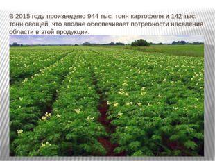 В 2015 году произведено 944 тыс. тонн картофеля и 142 тыс. тонн овощей, что в