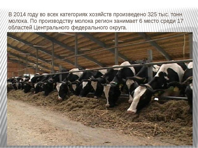 В 2014 году во всех категориях хозяйств произведено 325 тыс. тонн молока. По...