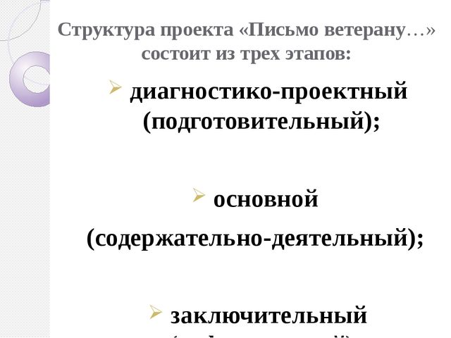 Структура проекта «Письмо ветерану…» состоит из трех этапов: диагностико-прое...