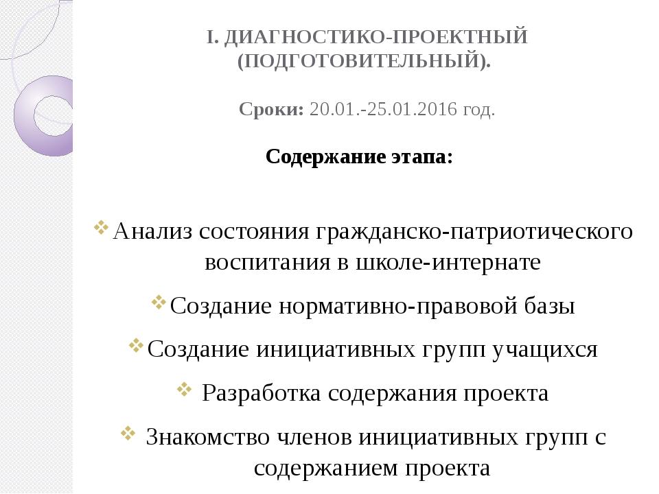 I. ДИАГНОСТИКО-ПРОЕКТНЫЙ (ПОДГОТОВИТЕЛЬНЫЙ). Сроки: 20.01.-25.01.2016 год. Со...