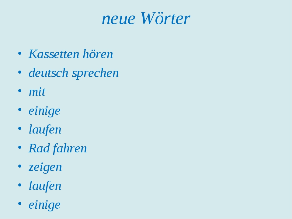 neue Wörter Kassetten hören deutsch sprechen mit einige laufen Rad fahren zei...