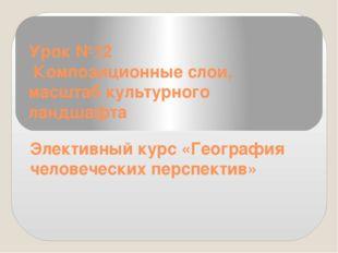 Урок №12 Композиционные слои, масштаб культурного ландшафта Элективный курс «