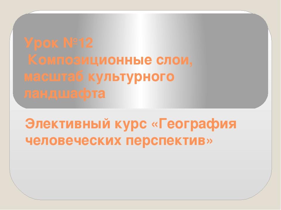 Урок №12 Композиционные слои, масштаб культурного ландшафта Элективный курс «...