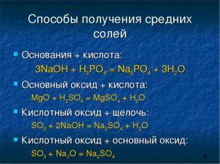 Способы получения средних солей Основания + кислота: 3NaOH + H3PO4 = Na3PO4