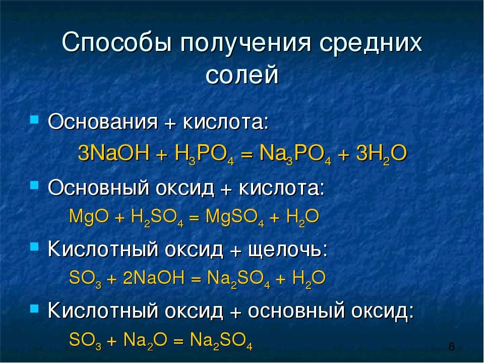 Способы получения средних солей Основания + кислота: 3NaOH + H3PO4 = Na3PO4...