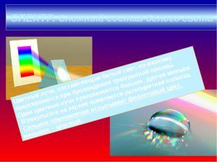 СПЕКТР. Сложный состав белого света Цветные лучи, составляющие белый свет, по