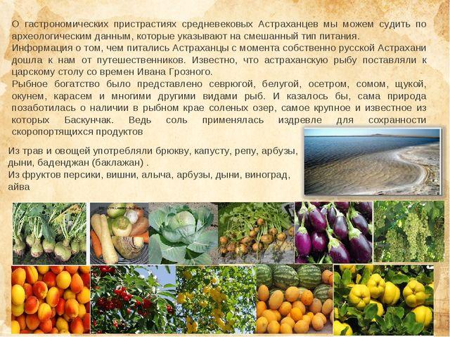 О гастрономических пристрастиях средневековых Астраханцев мы можем судить по...