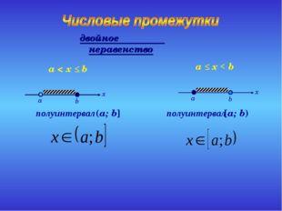 полуинтервал (a; b] a < x ≤ b полуинтервал [a; b) a ≤ x < b двойное неравенство