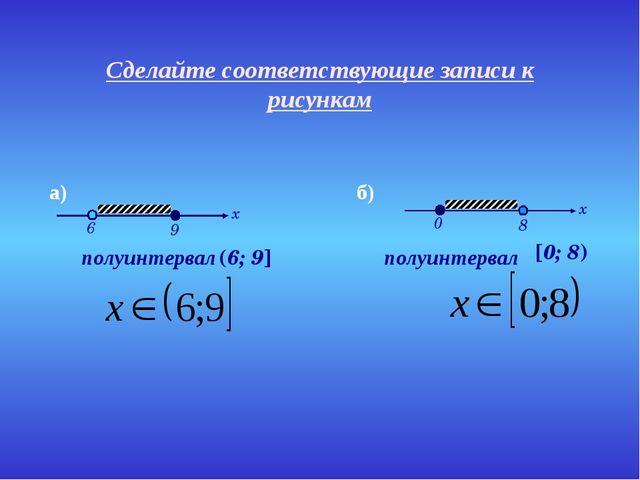 Сделайте соответствующие записи к рисункам полуинтервал полуинтервал (6; 9] [...