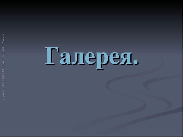 Галерея. Зеличенко Л.Е. ГБОУ СОШ № 879, ЮАО, г.Москва
