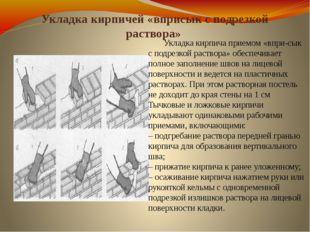 Укладка кирпичей «вприсык с подрезкой раствора» Укладка кирпича приемом «впр