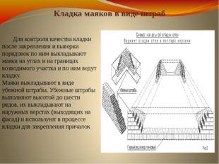 Кладка маяков в виде штраб Для контроля качества кладки после закрепления и