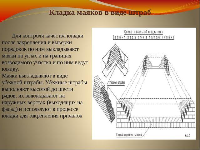 Кладка маяков в виде штраб Для контроля качества кладки после закрепления и...