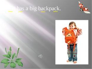 Pat has a big backpack.