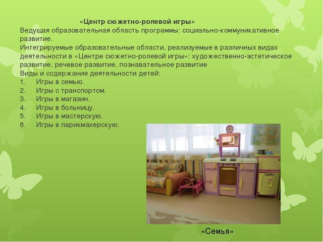 «Центр сюжетно-ролевой игры» Ведущая образовательная область программы: соци...