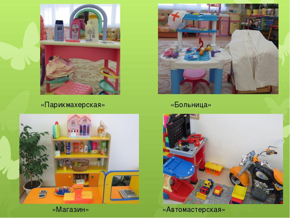 «Парикмахерская» «Больница» «Магазин» «Автомастерская»
