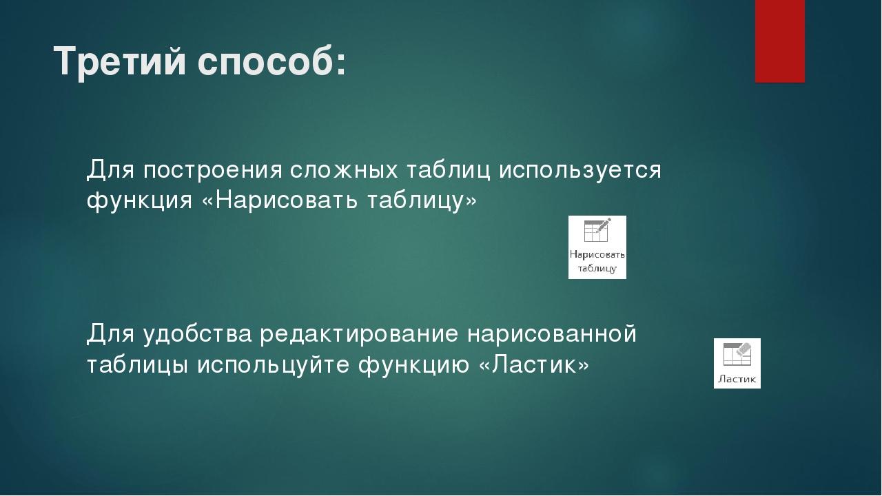 Третий способ: Для построения сложных таблиц используется функция «Нарисовать...