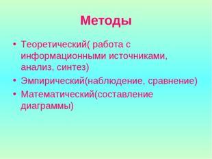 Методы Теоретический( работа с информационными источниками, анализ, синтез) Э