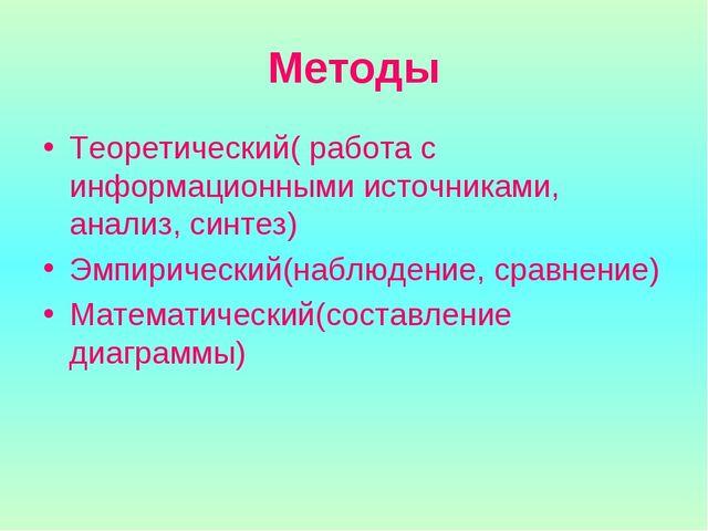 Методы Теоретический( работа с информационными источниками, анализ, синтез) Э...
