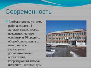 Современность Вобразовательную сеть района входят 14 детских садов, восемь н