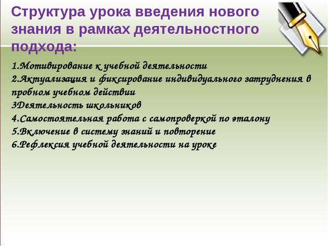 Структура урока введения нового знания в рамках деятельностного подхода: 1.Мо...
