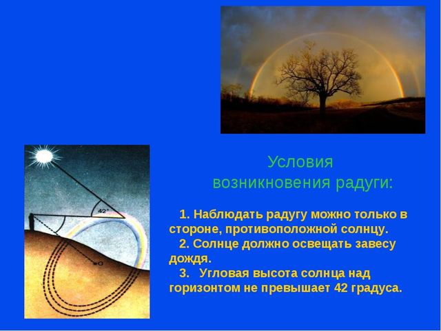 Условия возникновения радуги: 1. Наблюдать радугу можно только в стороне, про...