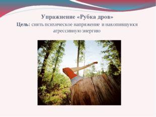 Упражнение «Рубка дров» Цель: снять психическое напряжение и накопившуюся агр