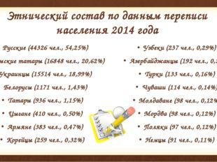 Этнический состав по данным переписи населения2014года Русские (44326 чел.,
