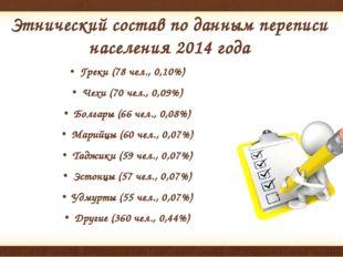 Этнический состав по данным переписи населения2014года Греки (78 чел., 0,10