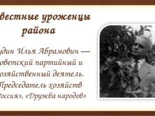 Известные уроженцы района Егудин Илья Абрамович — советский партийный и хозяй