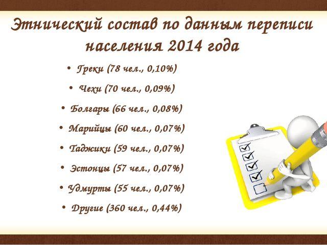 Этнический состав по данным переписи населения2014года Греки (78 чел., 0,10...