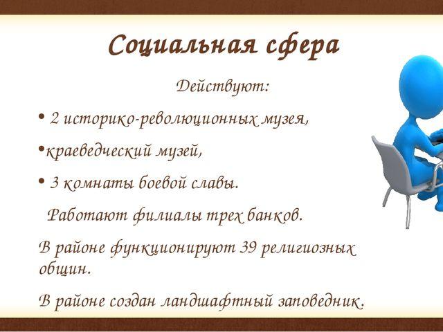 Социальная сфера Действуют: 2 историко-революционных музея, краеведческий муз...