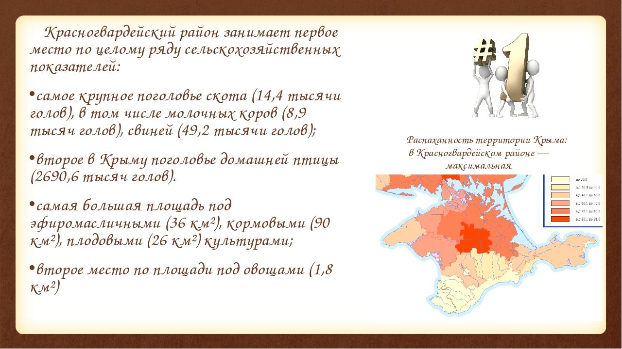 Красногвардейский район занимает первое место по целому ряду сельскохозяйств...