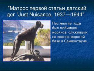 """""""Матрос первой статьи датский дог """"Just Nuisance, 1937—1944"""". Пес многие годы"""