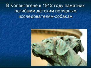В Копенгагене в 1912 году памятник погибшим датским полярным исследователям-с