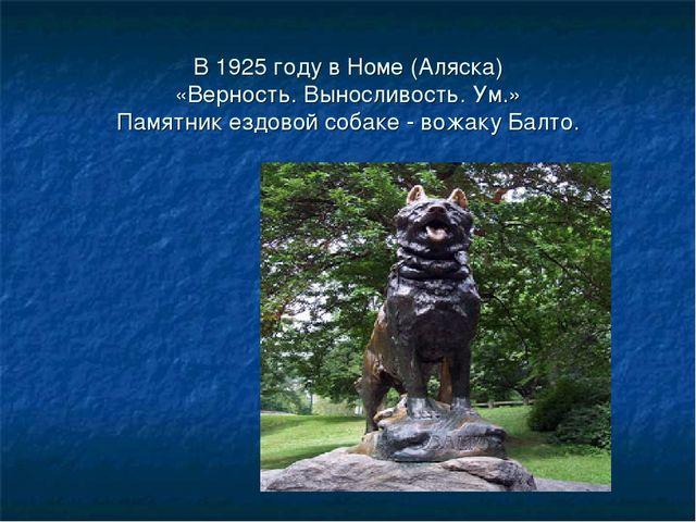 В 1925 году в Номе (Аляска) «Верность. Выносливость. Ум.» Памятник ездовой со...