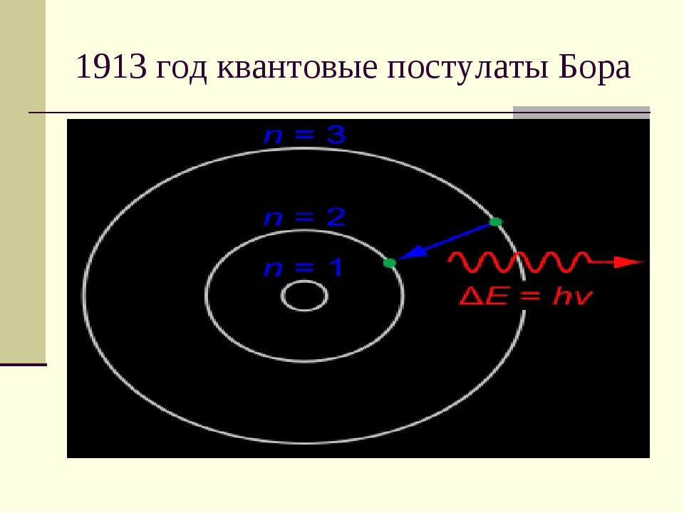 1913 год квантовые постулаты Бора