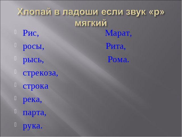 Рис, Марат, росы, Рита, рысь, Рома. стрекоза, строка река, парта, рука.