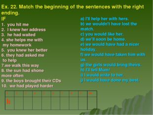 Ex. 22. Match the beginning of the sentences with the right ending. IF 1. you