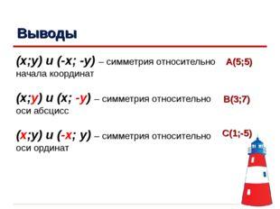 Выводы (x;y) и (-x; -y) – симметрия относительно начала координат (x;y) и (x;