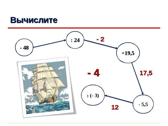 Вычислите - 5,5 : 24 +19,5 - 48 : (- 3) - 2 17,5 12 - 4