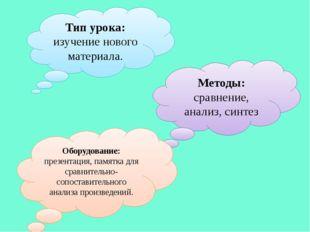 Тип урока: изучение нового материала. Методы: сравнение, анализ, синтез Обору
