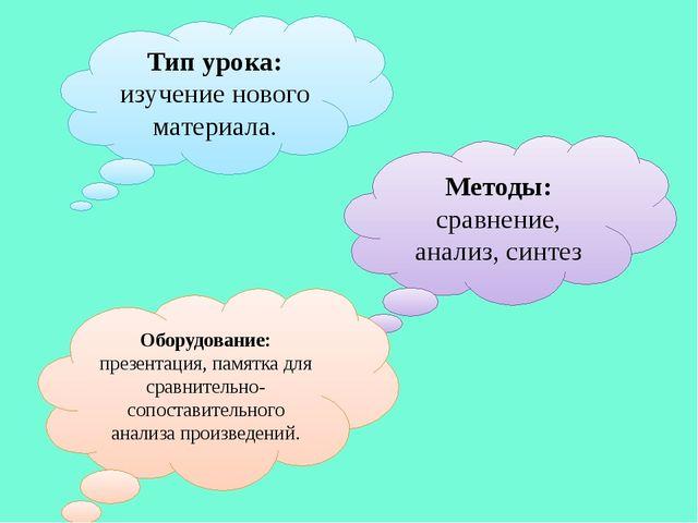 Тип урока: изучение нового материала. Методы: сравнение, анализ, синтез Обору...