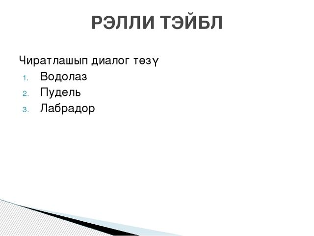 Чиратлашып диалог төзү Водолаз Пудель Лабрадор РЭЛЛИ ТЭЙБЛ