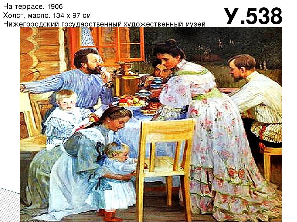 У.538 На террасе. 1906 Холст, масло. 134 x 97 см Нижегородский государственны...